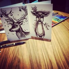 xmas card making - just water and a black pen :-)