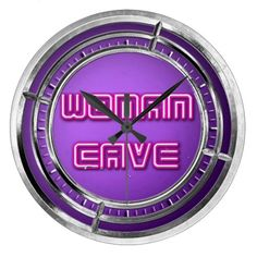 Neon Woman Cave Look Alike Large Clock