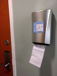 Protect Yourself! Use a tissue to open the door. An unusual place and purpose for a napkin. HCI wise, it makes you wonder: Are the protocols we have in place to guide users around the system and have been there for years, really the safest? Taking Pictures, Napkin, Toilet Paper, Purpose, Make It Yourself, Design, Napkins