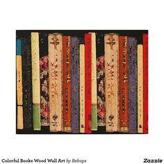 Colorful Books Wood Wall Art