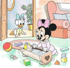 What's That Noise Baby Daisy? Minnie Mouse Cartoons, Mickey Mouse And Friends, Disney Cartoons, Baby Mickey, Mickey Minnie Mouse, Disney Mickey, Walt Disney, Baby Milestone Book, Image Mickey