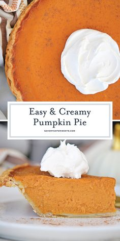 This Easy Pumpkin Pie is just perfect for Thanksgiving! Perfectly creamy and delicious, this pumpkin pie recipe is perfection! #easypumpkinpie #pumpkinpierecipe #pumpkinpie @savoryexperiments www.savoryexperiments.com