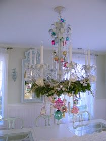 There is something very Alice in Wonderland about teacups dangling from a chandelier. Everytime I see a chandy decked out in teacups I love...