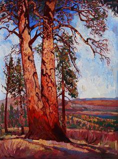 Pine Shadows by Erin Hanson (2013, Oil on Canvas, 36 x 48)
