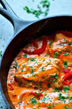 Shrimp And Rice Recipes, Fish Recipes, Seafood Recipes, Seafood Meals, Dinner Recipes, Seared Salmon Recipes, Pan Seared Salmon, Roasted Salmon, Sauce For Salmon