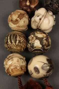 7: 26 Ojime beads inc. shibayama, ivory, cinnabar : Lot 7