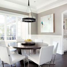 Contemporary Dining Room Half Wall Wainscoting Design Idea - AB