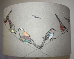 Lara Sparks Embroidery – Embroidered lampshades … just love ! Embroidered Bird, Bird Embroidery, Free Motion Embroidery, Embroidery Stitches, Embroidery Designs, Freehand Machine Embroidery, Machine Embroidery Patterns, Fibre Textile, Bordados E Cia