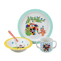 Adorable Elmer Dinner Set for Children, made by Petit Jour. From melamine and coming in a nice gift box, this Elmer set is a practical and perfect gift for little one. Breakfast Set, Breakfast For Kids, Melamine Dinner Set, Elmer The Elephants, Elephant Illustration, Baby Girl 1st Birthday, Elephant Design, Dinner Sets, Baby Kind