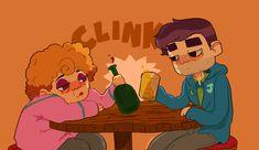 Stardew Valley art > Pam and Shane > drinking buddies, cheers > Stardrop Saloon Gamer Jokes, Stardew Valley Fanart, Art Puns, Rage Quit, Funny Art, Farm Simulator, Sd, Game Art, Anime