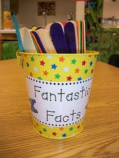 Third grade blog with great activities: this one is color coded stickes with multiplication facts for extra time (ex: red sticks are 1's, blue sticks are 2's)