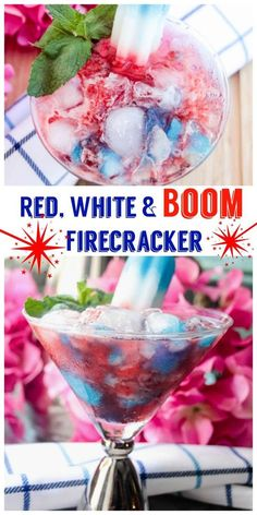 The Firecracker Popsicle is the starting point for this grown up and fun summer aperitif. We mixed in a dram of Smirnoff Red, White & Berry vodka which matched our tricolor theme perfectly. A splash of prepared (or homemade lemonade if you got time for th Blue Drinks, Vodka Drinks, Fun Cocktails, Party Drinks, Summer Drinks, Cocktail Drinks, Mixed Drinks, Alcoholic Drinks, Cocktail Recipes