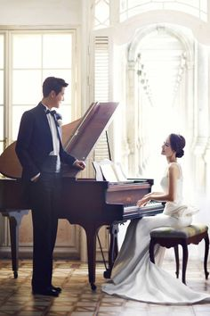 pre wedding with piano wedding pictures Piano Wedding, Wedding Songs, Dream Wedding, Pre Wedding Photoshoot, Wedding Shoot, Wedding Couples, Piano Photography, Wedding Photography, Engagement Pictures