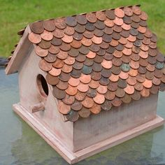 Update a birdhouse with a pretty penny roof!