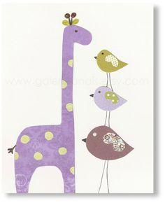Nursery art print, nursery decor, baby nursery print, kids art, kids room decor,  Birds, Giraffe, Taller Than You 8x10 print. $14.00, via Etsy.