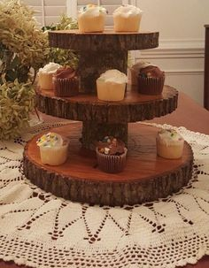Rustic Wedding 3 Tier Natural Log Minature Cupcake Stand by RogerDodgers on Etsy https://www.etsy.com/listing/482172683/rustic-wedding-3-tier-natural-log