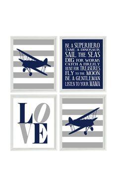 Vliegtuig kinderkamer kunst Navy blauw grijs door RizzleandRugee