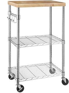 AmazonBasics Microwave Shelf/Cart with Storage and Wheels, Wood/Chrome: Amazon.in: Home & Kitchen Kitchen Utility Cart, Rolling Kitchen Cart, Kitchen Island Cart, Kitchen Trolley, Kitchen Storage, Kitchen Islands, Tv Trolley, Kitchen Rack, Kitchen Pantry
