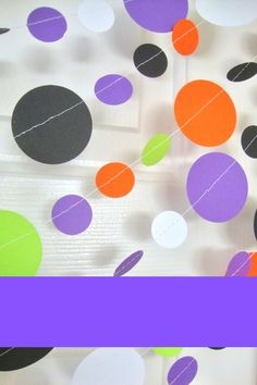These orange, black, white, purple, and lime garlands are the perfect decor for adding color and fun to your Halloween party. They are easy to hang and so much fun! Dance Decorations, Party Decoration, Holiday Decorations, Halloween Dance, Halloween Garland, Halloween Party, Food Tables, Circle Garland, Gift Table