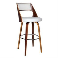 Oslo Set of 2 Walnut Timber and Black PU Seat Barstools in White