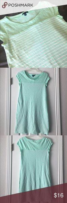 GAP Mint Striped T-Shirt Dress Beautiful GAP T Shirt Dress. Reposh (price firm unless bundled)- I'm SO sad that this didn't fit! Mint and white striped & perfect for summer! Tiny spot on the back of the dress (only noticeable if you are looking for it). GAP Dresses