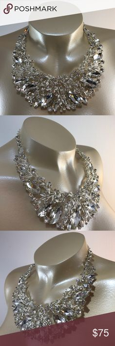 """Here Comes the Bride 18""""L bib crystal necklace with silver tone metal and matching 3""""L earrings. 3""""L extender chain attached to necklace for ease of use. Elegant set for all formal events. 🚨(Not included in Birthday SALE). 🚨 Christina Collection Jewelry Necklaces"""
