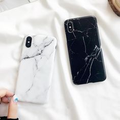 Classic Black & White Marble Case iPhone X