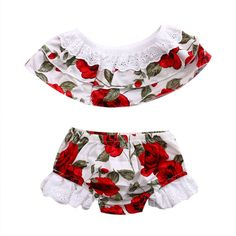 Toddler Baby Girls Kids Lace Floral Tops+Rose Bottoms Briefs 2pcs Outfits Set Clothing(2-3Y,Red Rose). Material: Cotton. Style: Floral print top+ floral shorts. Perfect for Beach Trips, Great for Keeping Girls Cool and Comfortable. 4 sizes available, for infant girls about 0-6Years!!. Package included: 1*top+1*Bottoms Briefs.