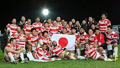喜ぶ日本代表選手たち=ラグビーW杯