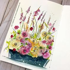 Photo by CeeCee on April Watercolor Projects, Pen And Watercolor, Abstract Watercolor, Watercolor Flowers, Watercolor Paintings, Painting Art, Watercolors, Watercolor Pictures, Flower Art