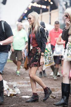 shorts and a bomberjacket spotted on Glastonbury.