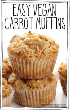 Cajun Delicacies Is A Lot More Than Just Yet Another Food Easy Vegan Carrot Muffins The Tastiest Muffins Ever. Every Muffin Is Bursting With Sweet Carrots, Crunchy Walnuts, Chewy Coconut, Cinnamon, And Nutmeg. Making These The Best Carrot Muffins You Will Desserts Végétaliens, Vegan Dessert Recipes, Vegan Sweets, Dinner Recipes, Easy Vegan Recipes, Easy Vegan Lunch, Whole30 Recipes, Snacks Recipes, Delicious Recipes