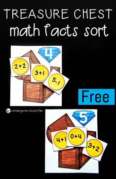 This fun, pirate-themed treasure chest math facts sort makes a great math center for Kindergarteners or First Graders to work on math facts to Math For Kids, Fun Math, Math Activities, Math Stations, Math Centers, 2 Kind, Math Addition, 1st Grade Math, Guided Math