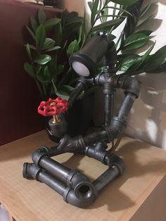 Custom sitting robot table lamp holding a flower. Handmade to order. ½ cast pipe and fittings. 120 volt type A plug. Dimensions: 7W x 9L x 12H Lightbulb included. Custom orders welcomed - just shoot us a message.