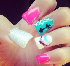 love the flare nails & the designs are cute . Fabulous Nails, Gorgeous Nails, Get Nails, How To Do Nails, Western Nails, Duck Feet Nails, Flare Nails, Aztec Nails, Cute Nail Designs
