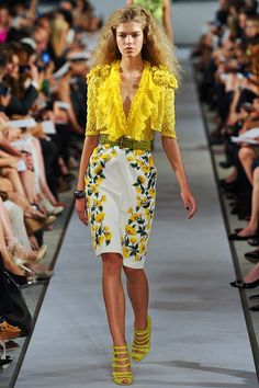 My Style | Yellow ruffled V neck blouse    with floral embroidered white short pencil skirt    Oscar De La Renta Spring - Summer 2012 Fashion .‎