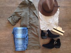 Olive Jacket, Moto Jeggings, Black Booties, Striped Tee, Brown Hat,Choker. www.shopblvd22.com
