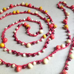 Long Crochet Necklace with Wooden Beads, Natural Colours, Yellow, Red Bracelet on Etsy