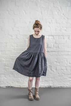 Linen dress. Charcoal / warm black linen loose by notPERFECTLINEN