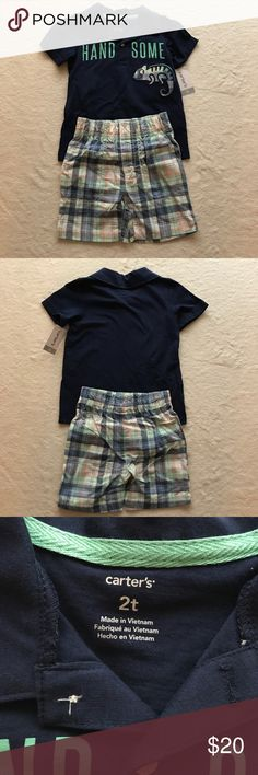 Carter's Boy's Short Set, 2 piece, Size 2T These are brand new with tags. This is a set and comes with the shirt and shorts. It is 100% cotton. Carter's Matching Sets