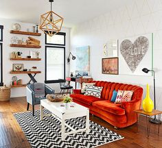 The edgy results put a little pep -- and a lot of fun -- into this family's home: http://www.bhg.com/decorating/decorating-style/flea-market/house-tour--fresh-retro-style/?socsrc=bhgpin110414funlivingspace&page=1