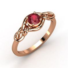 i love this!!!!!Round Ruby 14K Rose Gold Ring | Sailor's Knot Ring | Gemvara