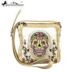 Beige Sugar Skull & Floral Montana West Messenger Bag Purse
