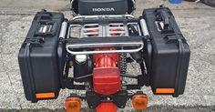 MOUNTED, PANNIER, PELICAN, REMOVABLE, 1485, CUSTOM, RACK, CASE, HONDA, CT110, 1982, HUNTER CUB, CT, CT-110, DUAL, TRAIL, RANGE Custom Bobber, Custom Bikes, Honda Cub, Mini Bike, Bmx, Motorbikes, Cubs, Trail, Vehicle