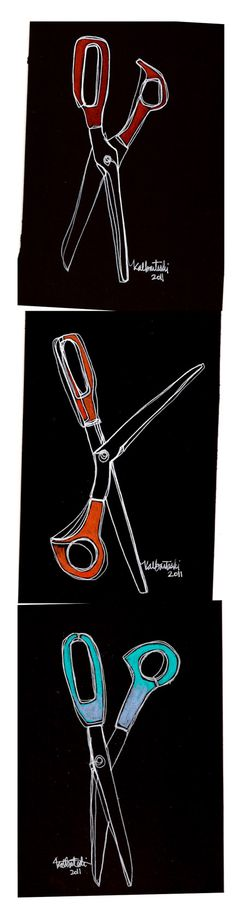 The WHITEonBLACK scissor series - a study for larger continuous line drawings.