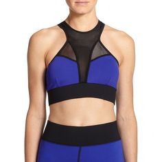 MICHI Avalon Mesh-Detail Colorblock Sport Bra ($84) ❤ liked on Polyvore featuring activewear, sports bras, apparel & accessories, indigo, sleeveless pullover, michi, racerback sports bra, racer back sports bra and sweater pullover