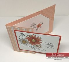 Make This Unique Card Fold Greeting For Your Best Friend! This corner tuck fold is easily constructed with the tips in this step-by-step video. Cutting dimensions and tips on using alcohol-based markers included.