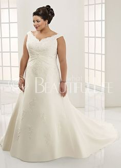 $276.99Plus Size #V-Neck Sash Embroidery #Sweep Train Satin #Wedding Dress with Beadings