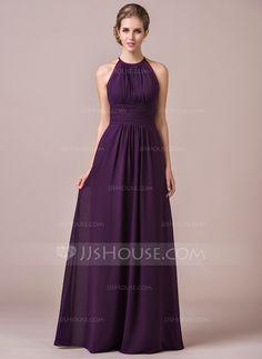 [£ 98.00] Chiffon Halter-neck Floor-length Bridesmaid Dress With Lace (007054347)