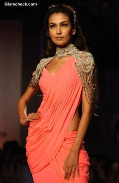 Monisha Jaising Bridal Collection at Delhi Couture Week 2013 Love the collar and shoulders Choli Designs, Saree Blouse Designs, Sari Blouse, Indian Bridal Fashion, Asian Fashion, Saree Gown, Lehenga Choli, Indian Attire, Indian Wear